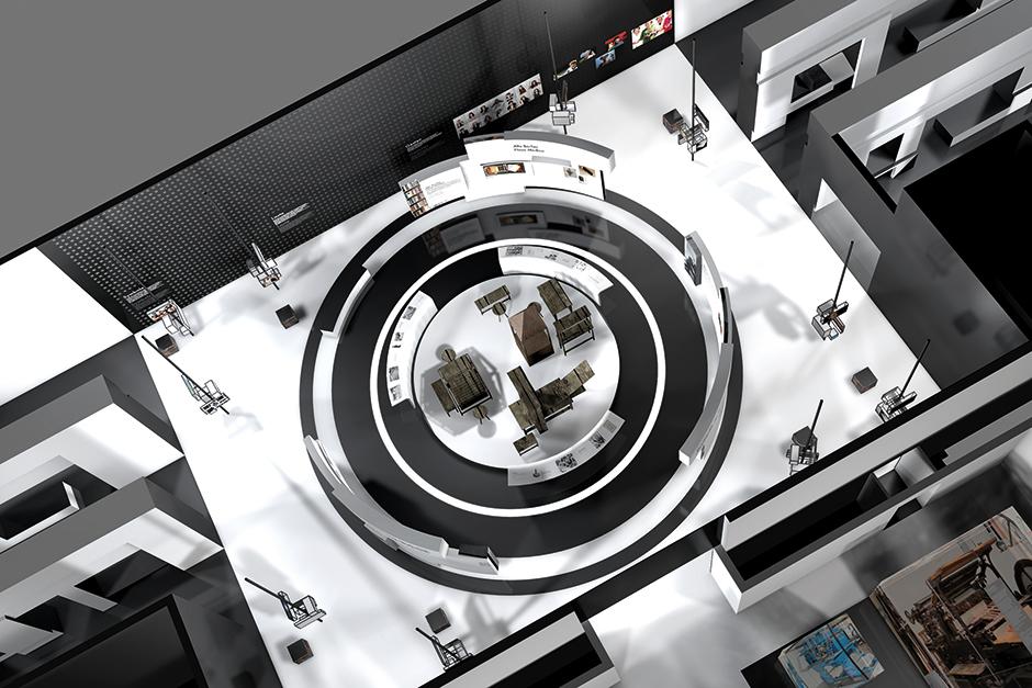 Ausstellungsarchitektur. Blick auf die Ausstellung von oben.
