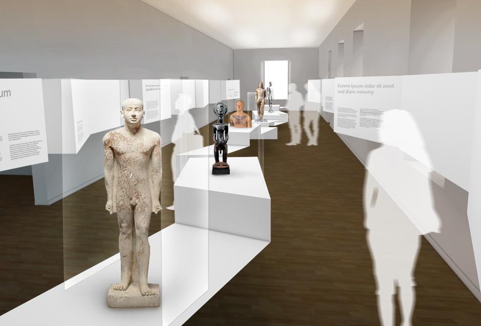 Museumsplanung. Figuren auf Sockeln. Visualisierung.