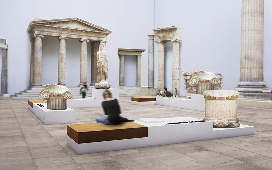 Szenographie. Sitzgelegenheit vor Tempelteilen und Säulen.
