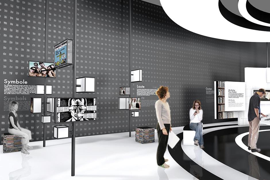 Ausstellungsarchitektur. Personen in der Ausstellung.