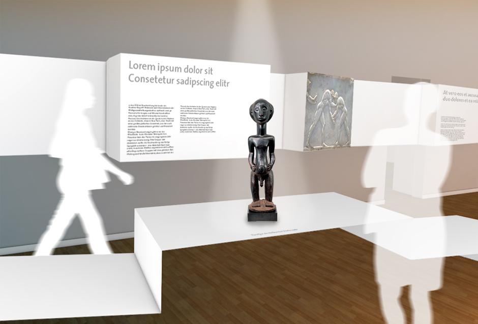 Museumsplanung. Bronzefigur auf Sockel. Visualisierung