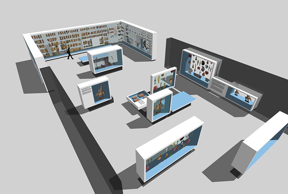 Die Visualisierung zeigt eine Ausstellungsarchitektur von oben betrachtet.