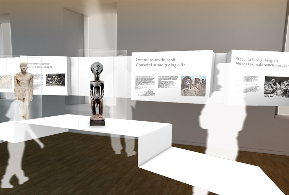Museumsplanung. Bronzefigur auf Sockel, Grafikentafel an der Wand. Visualisierung.