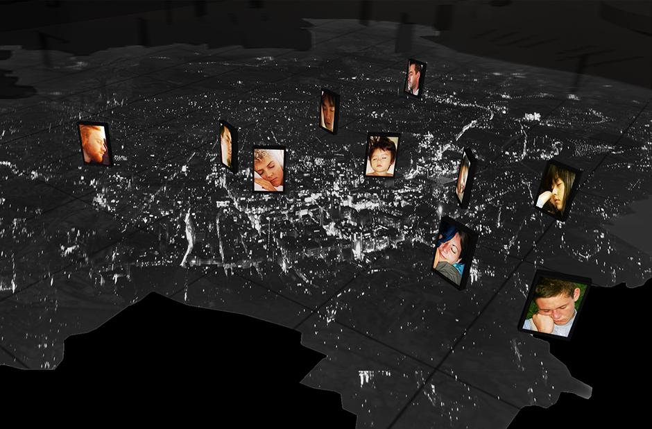 Ausstellungsplanung. Visualisierung. Personen bei Nacht, in der Luft.