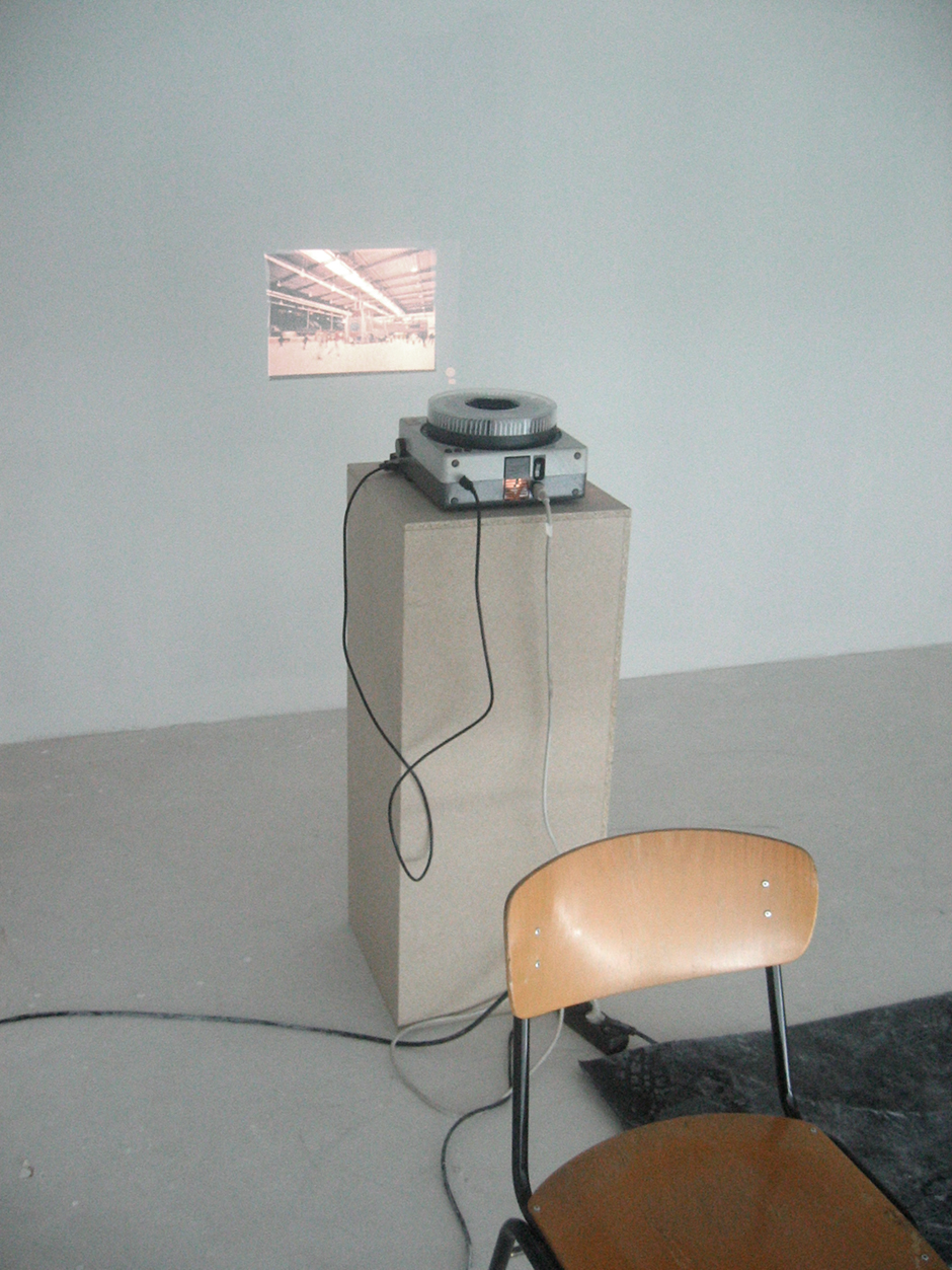 Wanderausstellung. Projektor projiziert ein Bild an die Wand.