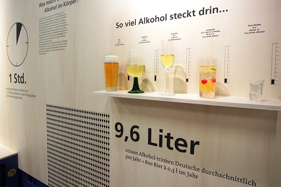 Museumsdesign. Ausstellungssituation mit Grafiken an der Wand.