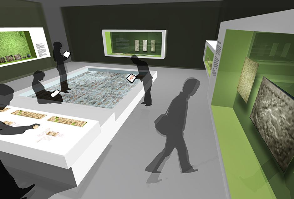 Ausstellungsarchitektur und Visualisierung. Personen in der Ausstellung.