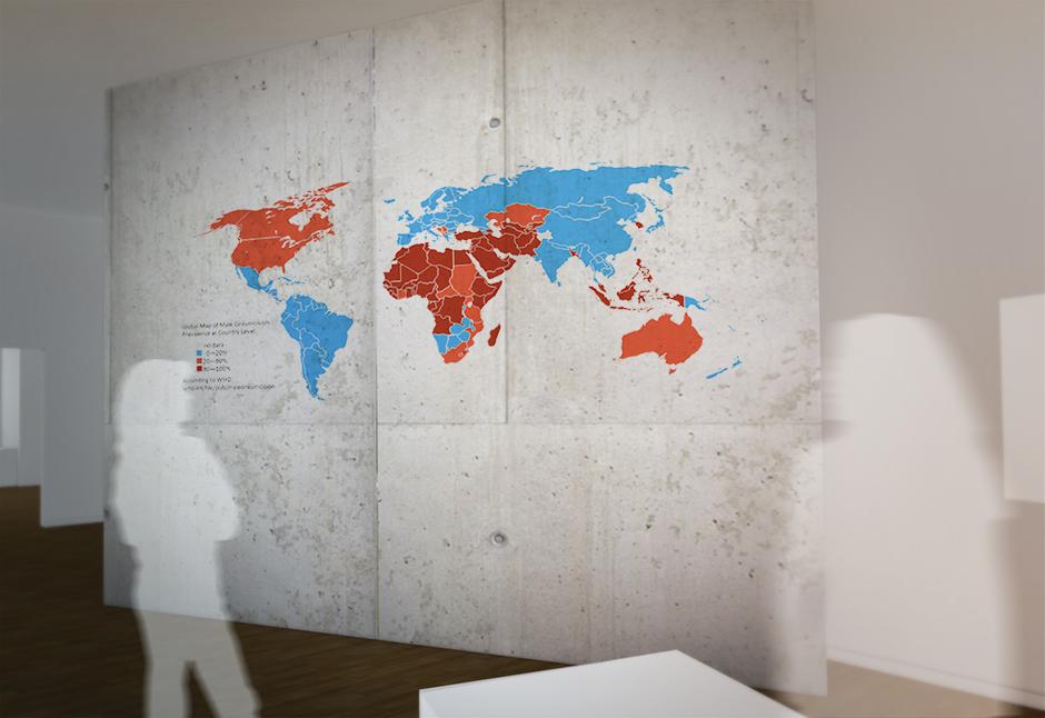Museumsplanung. Besucher vor Grafik an der Wand. Visualisierung.