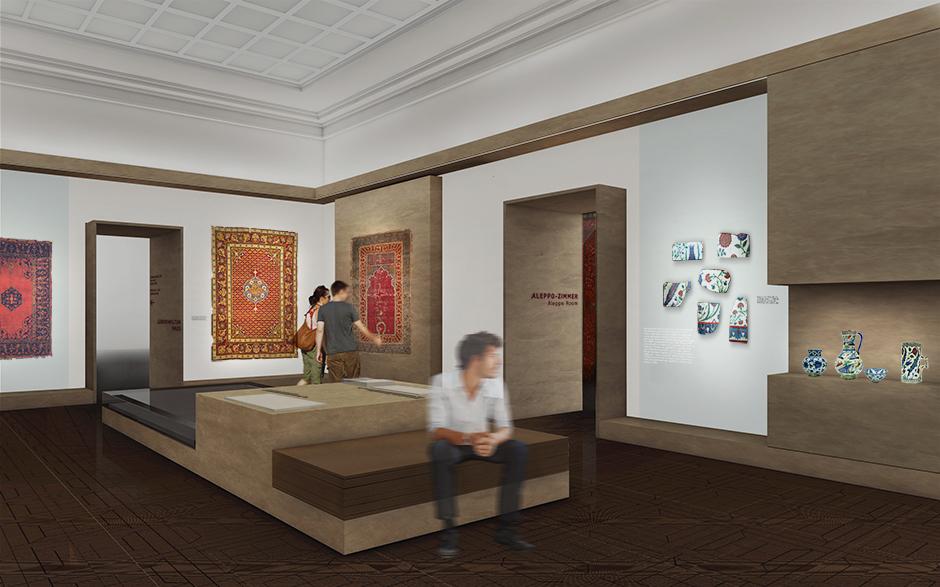 Szenographie. Sitzgelegenheit in einem Ausstellungsraum.