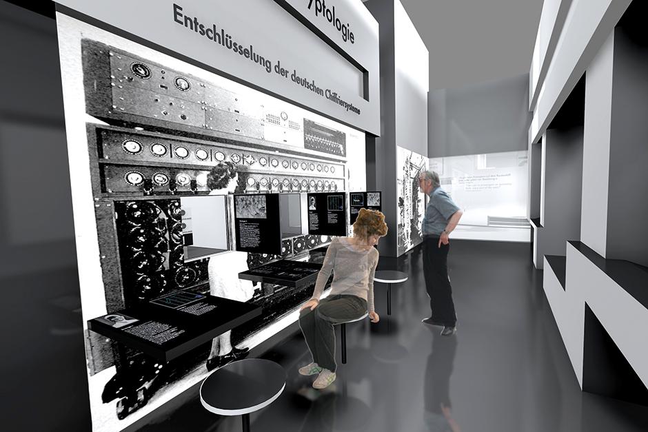 Ausstellungsarchitektur. Sitzgelegenheit vor Interaktiver Grafik an der Wand.