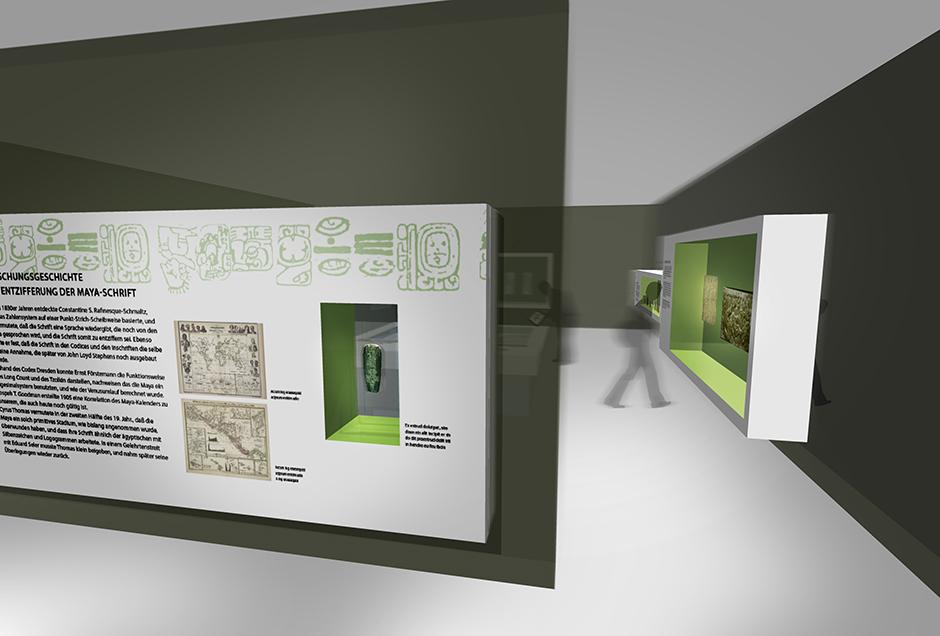 Ausstellungsarchitektur und Visualisierung. Vitrinen in der Wand.