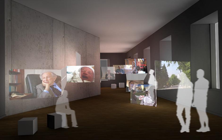 Museumsplanung. Besucher im Ausstellungsraum mit Sitzgelegenheit. Visualisierung.