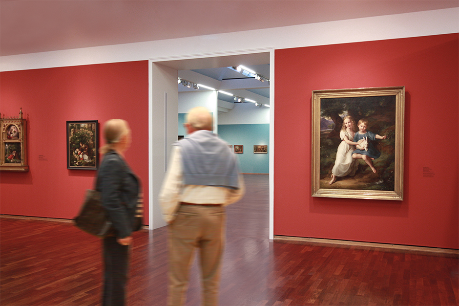 Museumsgestaltung. Besucher betrachten ein Bild an der Wand.