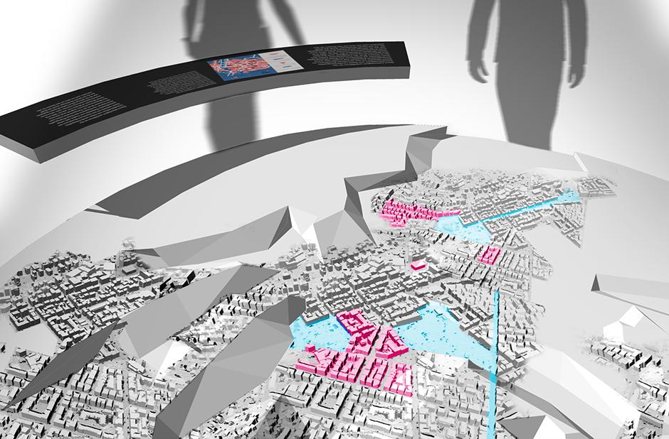 Ausstellungsplanung. Visualisierung. Besucher um Grafik herum.