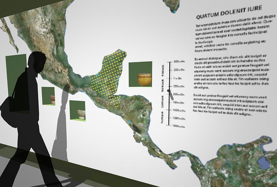 Ausstellungsarchitektur und Visualisierung. Vitrinen in der Wand mit Beschriftung.