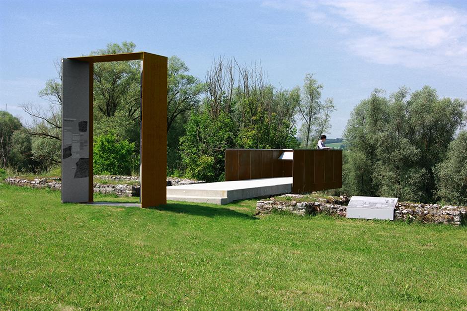 Ausstellungsarchitektur auf einer Wiese in der Umgebung.