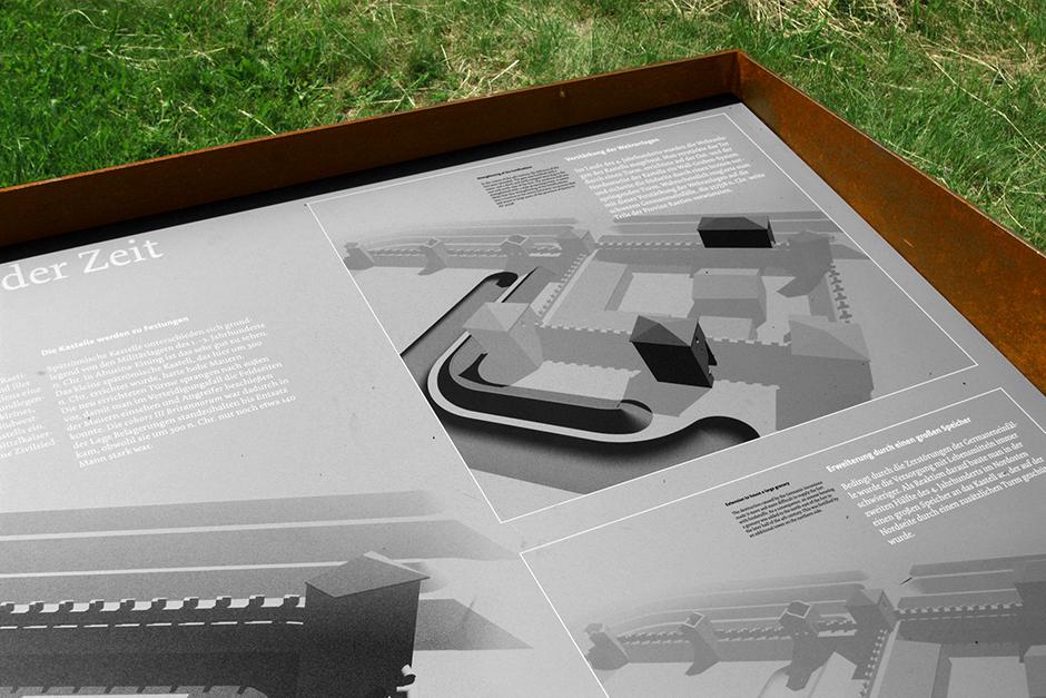 Ausstellungsarchitektur. Erklärende Grafik auf einer Wiese.