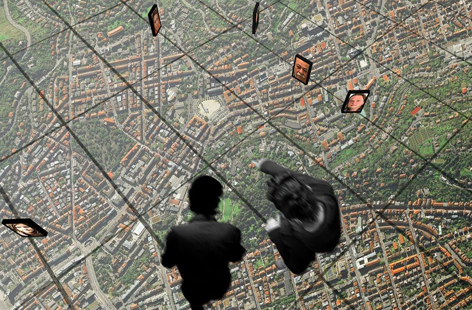 Ausstellungsplanung. Visualisierung. Personen auf gläsernem Boden in der Luft.