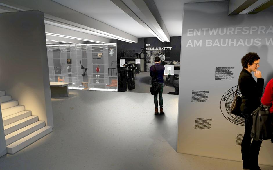 Museumsplanung. Visualisierung, Personen vor der Installation, Ausstellungsarchitektur.