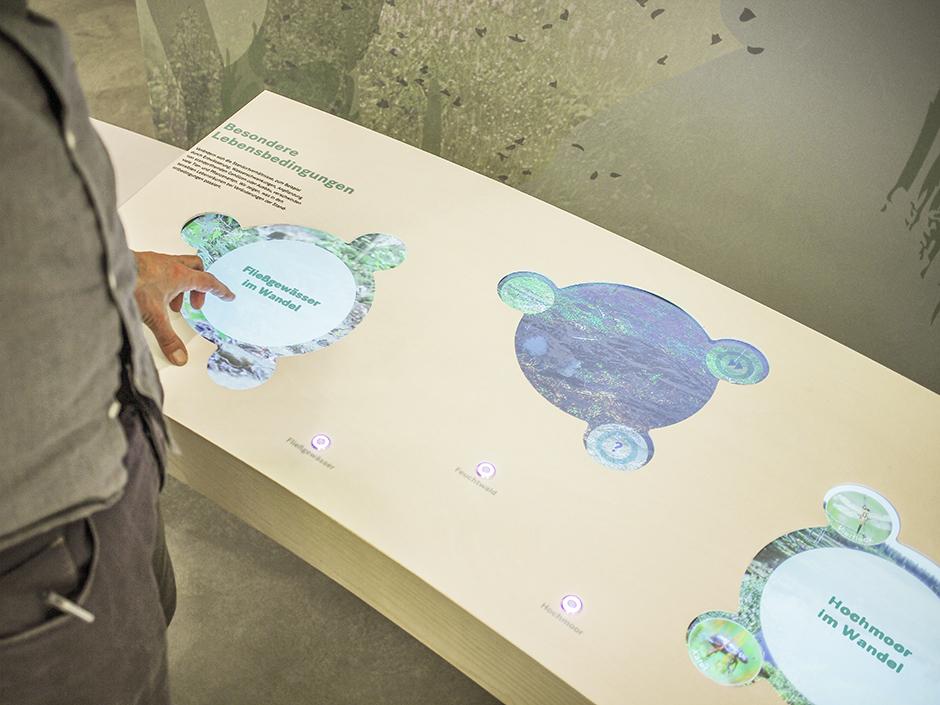 Museumsgestaltung. Vitrine mit interaktivem Bildschirm.