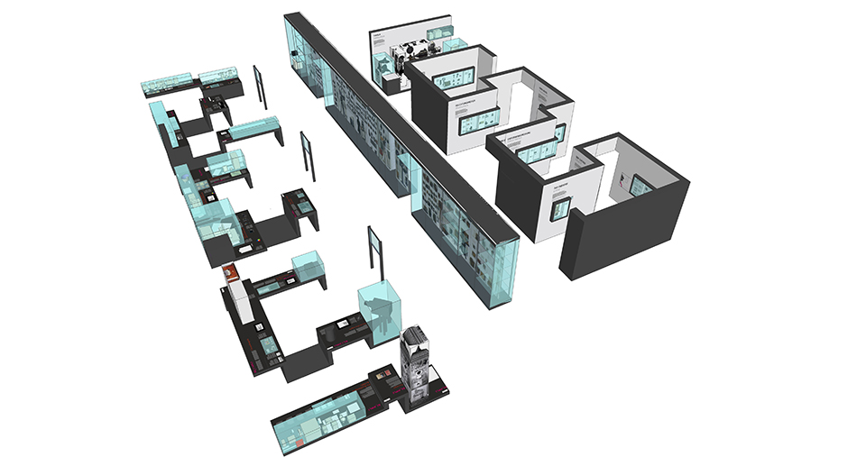 Ausstellungsplanung. Visualisierung der Ausstellung, Blick von oben.