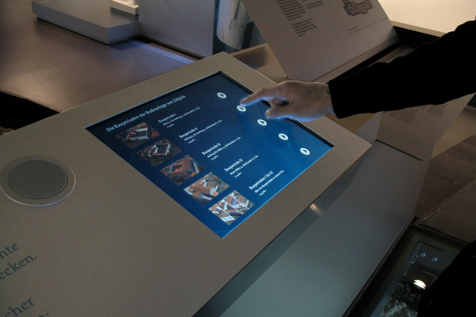 Museumsplanung. Interaktiver Bildschirm.
