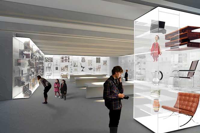 Museumsplanung. Visualisierung, Personen vor der Installation.