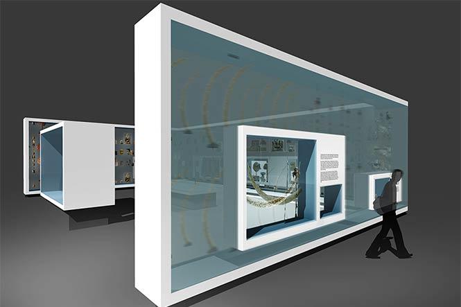 Ausstellungsarchitektur. Visualisierung. Mann vor Vitrinen in der Wand.