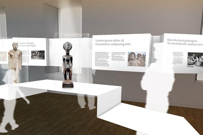 Ausstellungsgestaltung. Bronzefigur auf Sockel. Visualisierung.