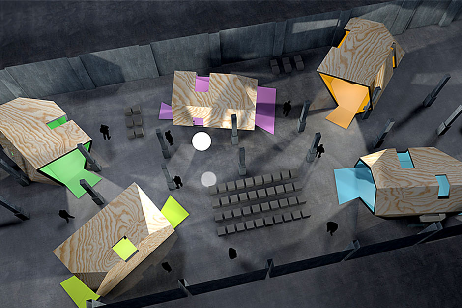 Ausstellungsarchitektur. Übersicht der Ausstellung von Oben. Illustration.