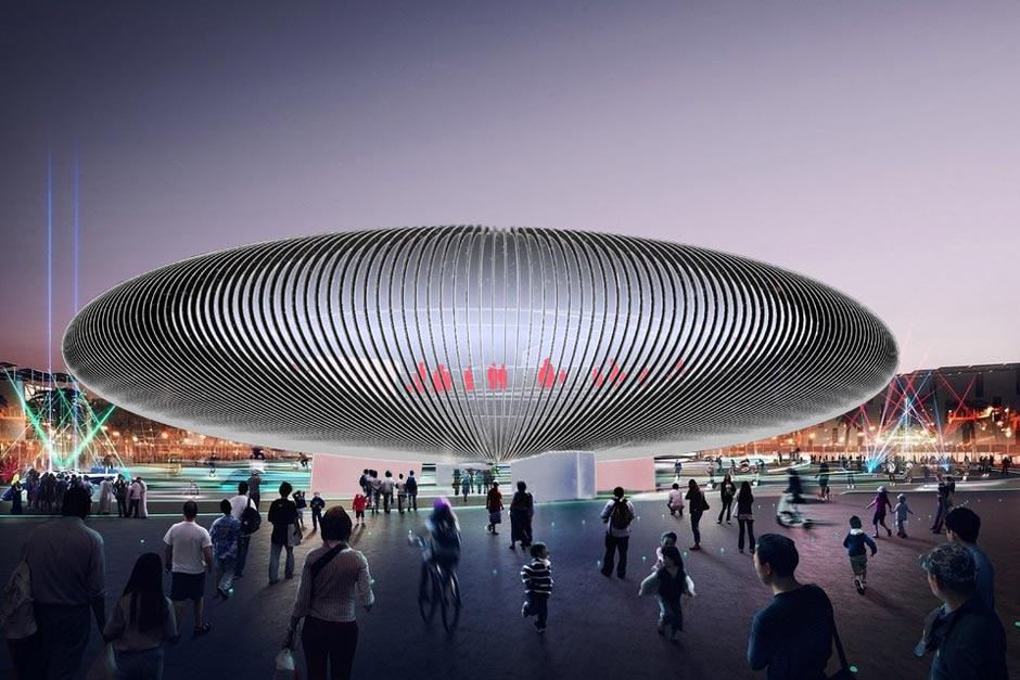 Szenographie. Expopavillon, Visualisierung von außen.