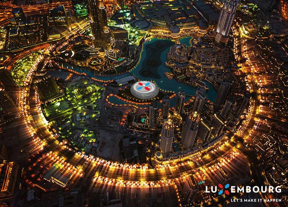 Szenographie. Expopavillon, Blick von weit oben auf den Pavillon.