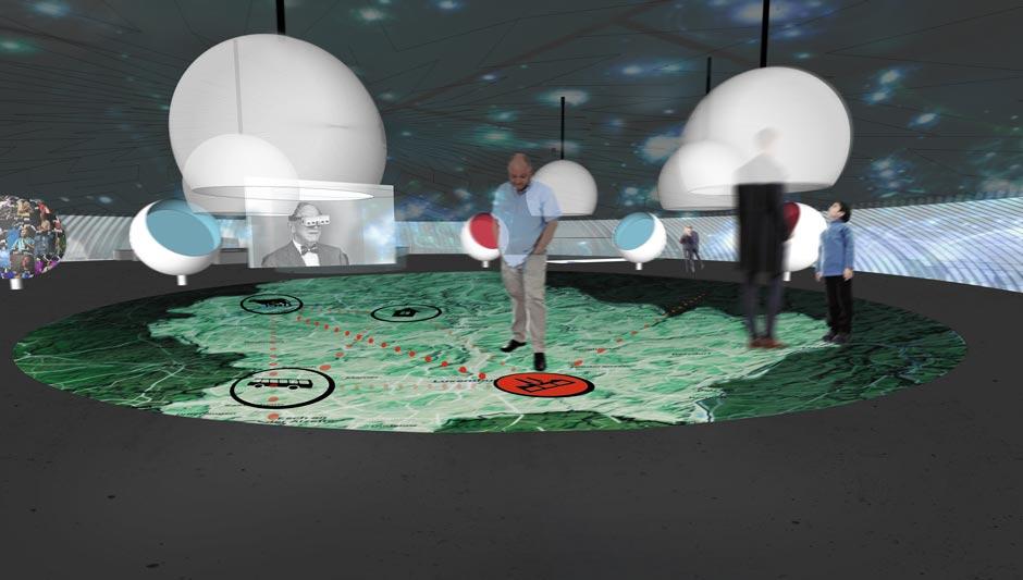 Szenographie. Expopavillon, Mann auf Graphik auf dem Boden.