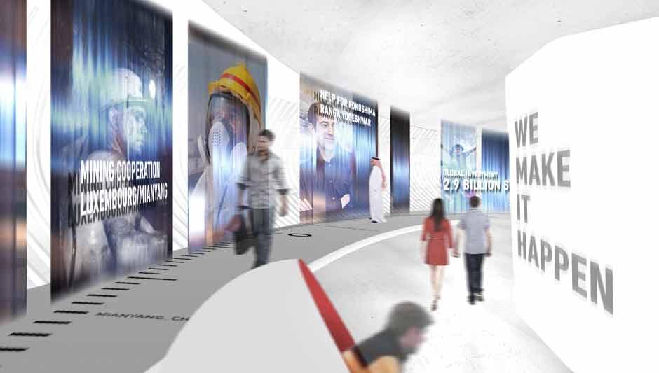 Szenographie. Expopavillon, Visualisierung Besucher vor Ausstellungswand.