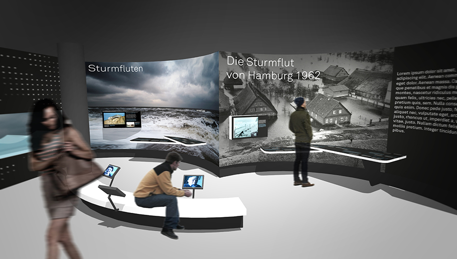 Szenographie. Sitzgelegenheit vor Ausstellungswand mit Sturm.