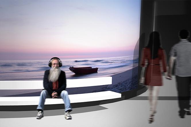 Szenographie. Sitzgelegenheit vor Ausstellungswand mit Meer.