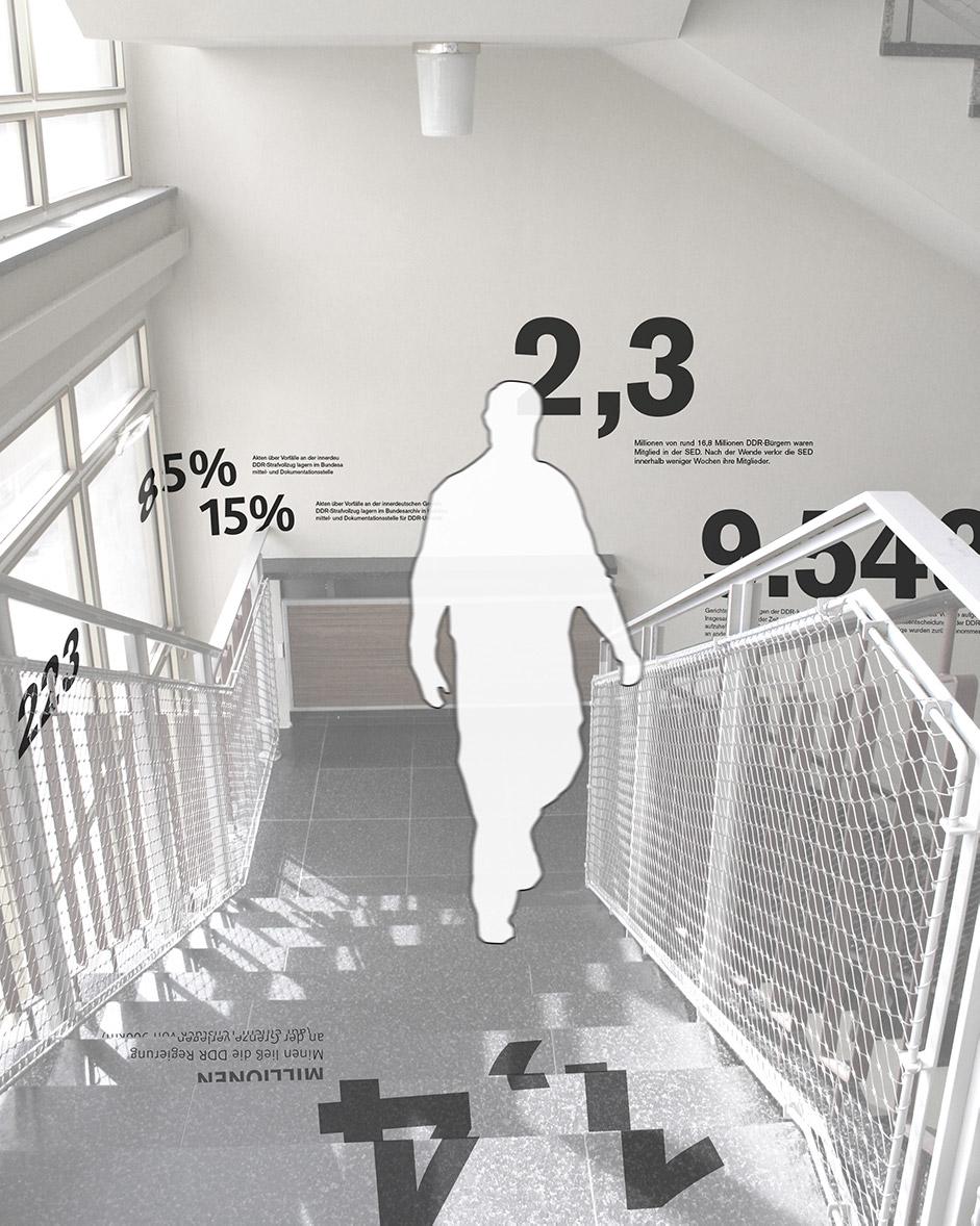 Ausstellungsarchitektur. Visualisierung mit einer Person, welche die Treppe hinauf geht. Information in Form von Zahlen findet sich auf den Treppenstufen und an der Wand.
