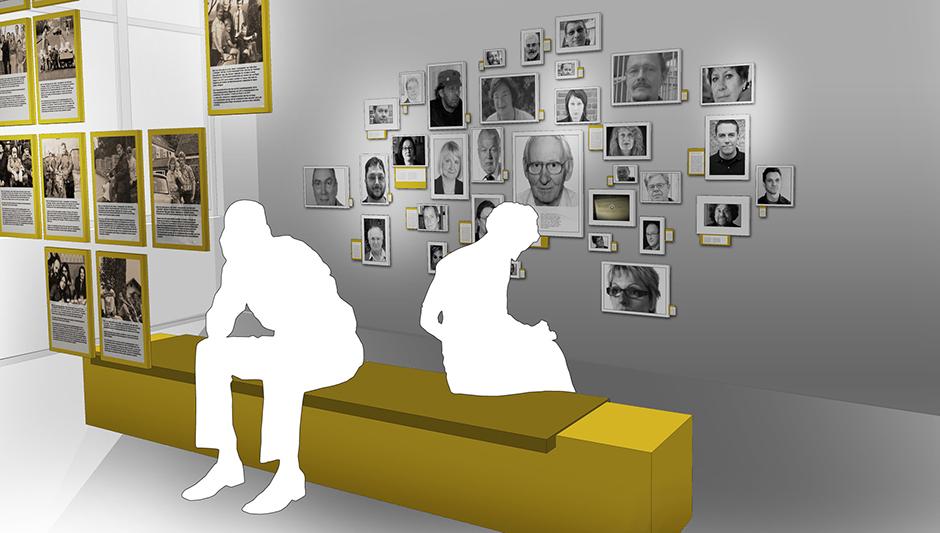 Ausstellungsarchitektur. Visualisierung, zwei Personen sitzen auf einer Bank und betrachten Bilder an der Wand und im Raum.