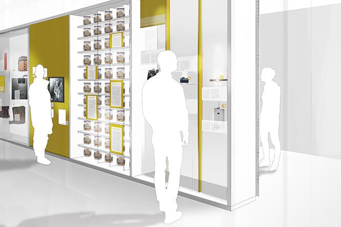 Ausstellungsarchitektur. Visualisierung mit mehreren Personen vor einem Schaukasten