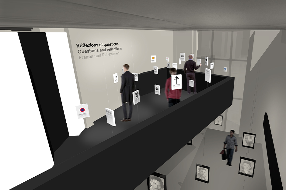 Ausstellungsdesign. Personen betrachten Auszüge der Ausstellung auf Empore.
