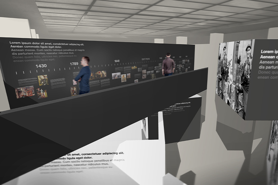 Ausstellungsdesign. Personen betrachten Zeitleiste auf der Empore.